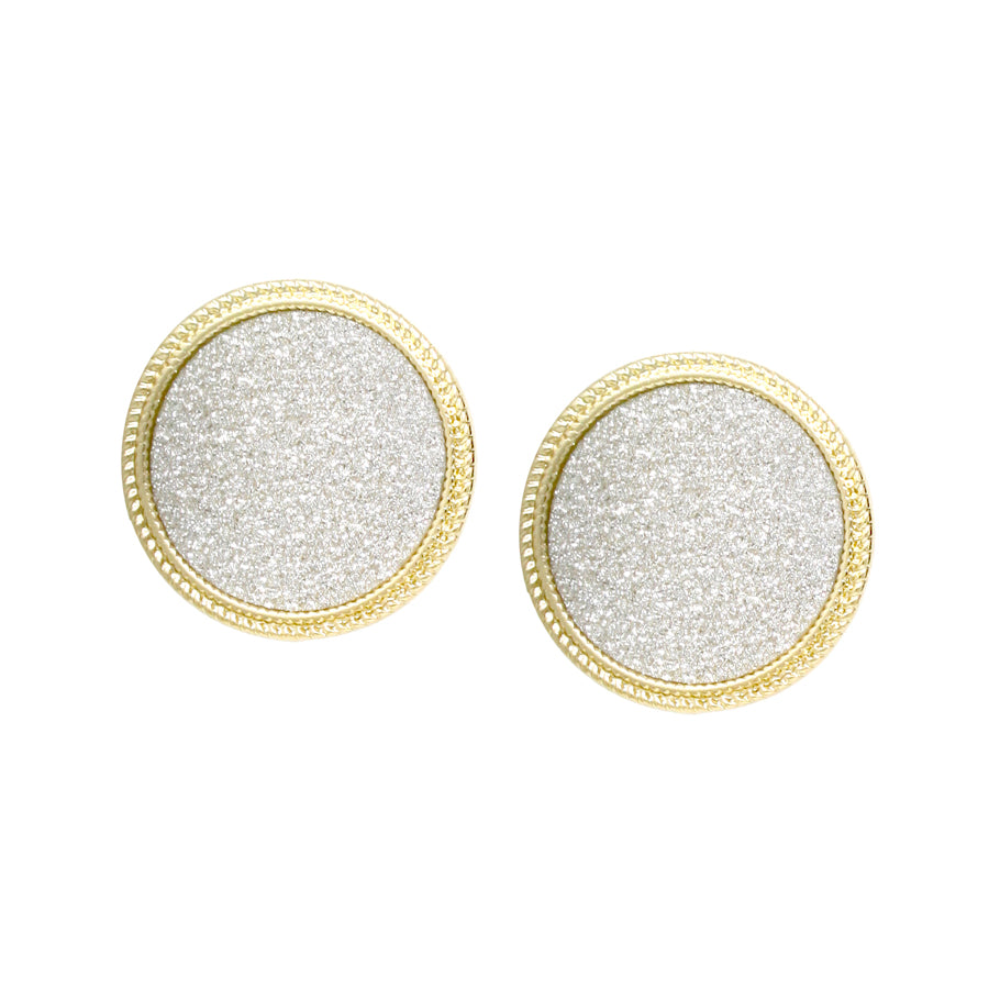 Vintage Framed Glitter Disc Stud Earrings