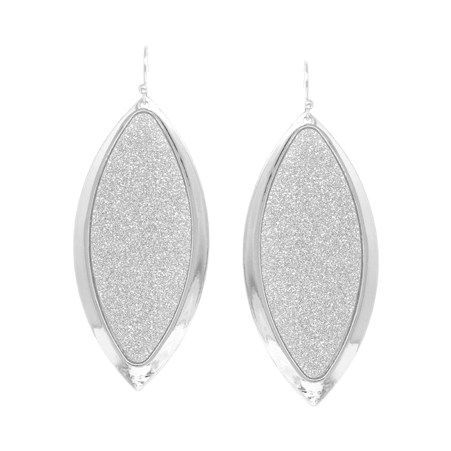 Metal Framed Oval Shape Glitter Drop Earrings
