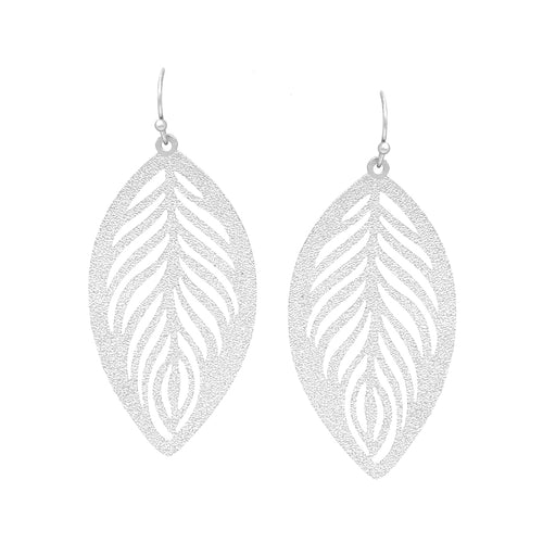 Glitter Textured Metal Leaf Cutout Drop Earrings