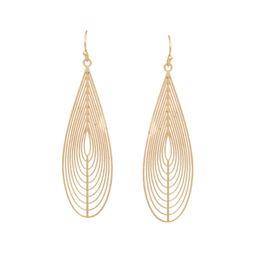 Lightweight Teardrop Shape Cutout Drop Earrings