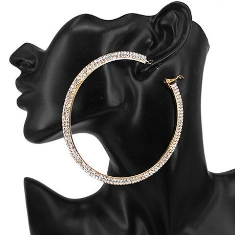Crystal Press Two Row Hoop Earrings