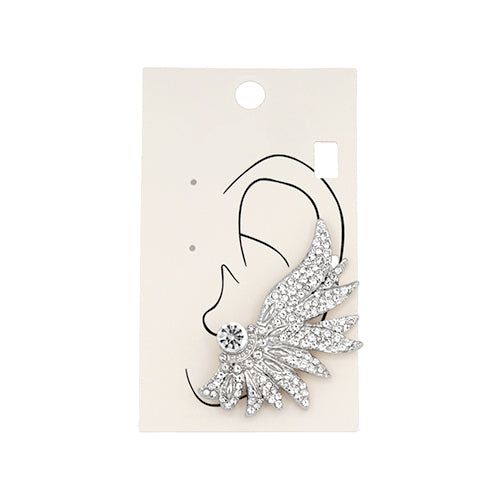 Glass Stone Pave Wing Ear Cuff Earrrings