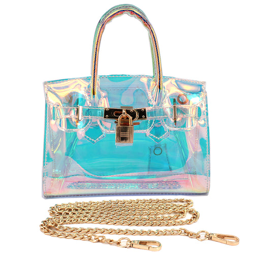 Holographic Vinyl Jelly Mini Tote Bag With Lock Charm Closure