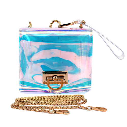 Trendy Holographic Clear Vinyl Jelly Messenger Bag