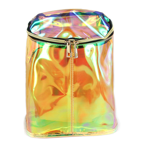 Holographic Vinyl Jelly Bucket Backpack