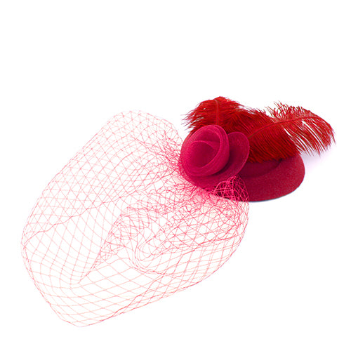Mesh Flower Feather Trimmed Hair Fascinator Clip