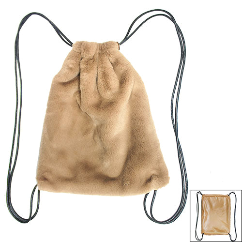 Soft Faux Fur With Leather Sackpack