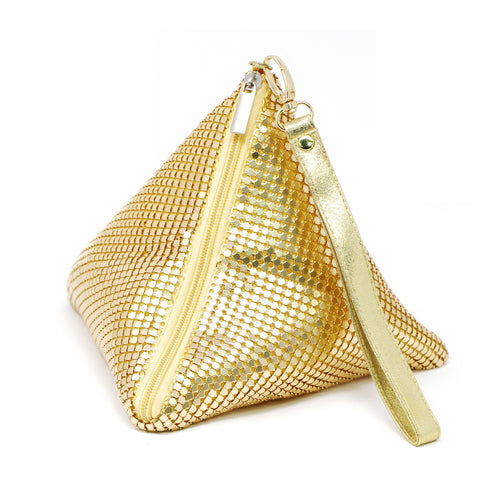 Mesh Pyramid With Side Zipper Wristlet