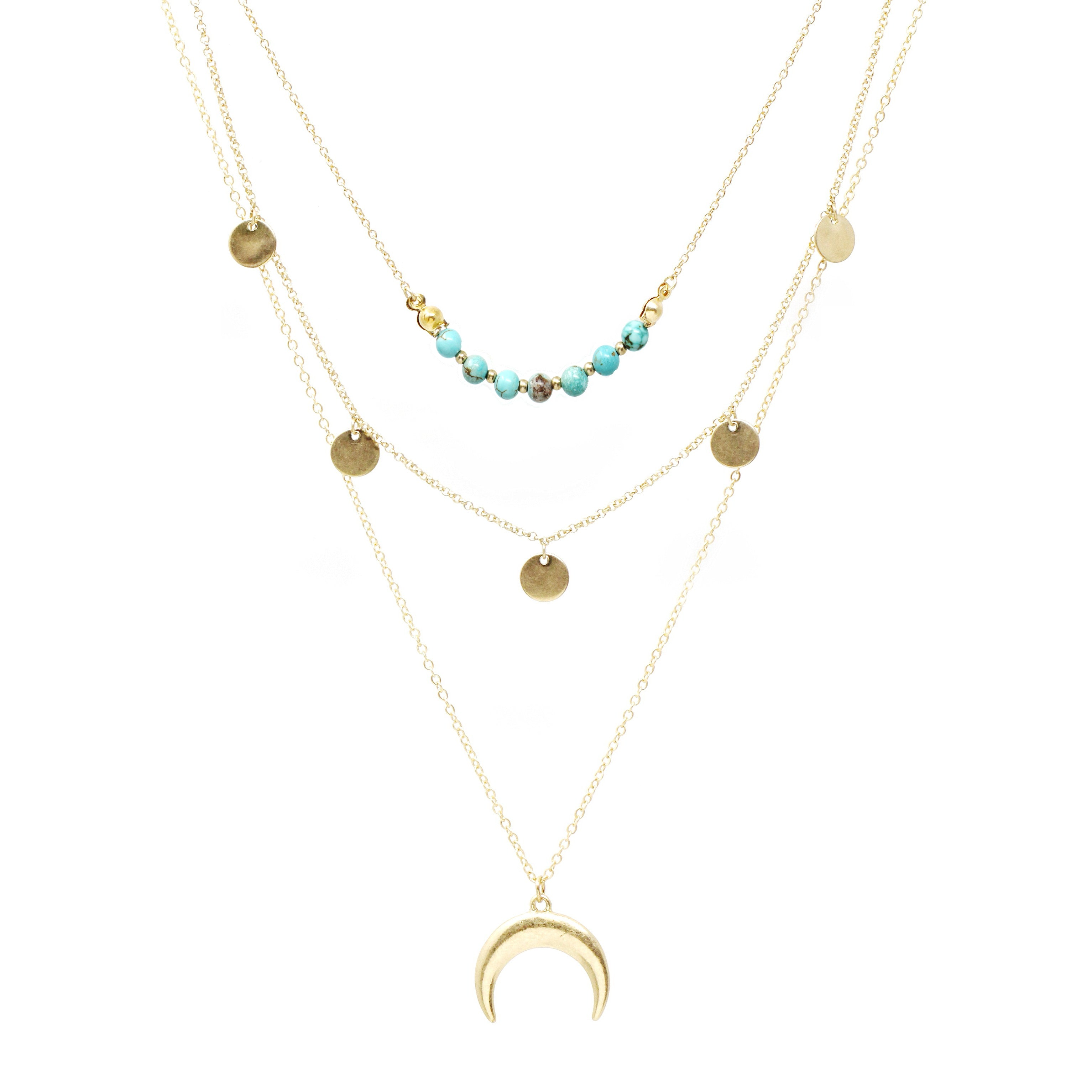 Inverted Crescent Moon Semi Precious Stone Layered Necklace