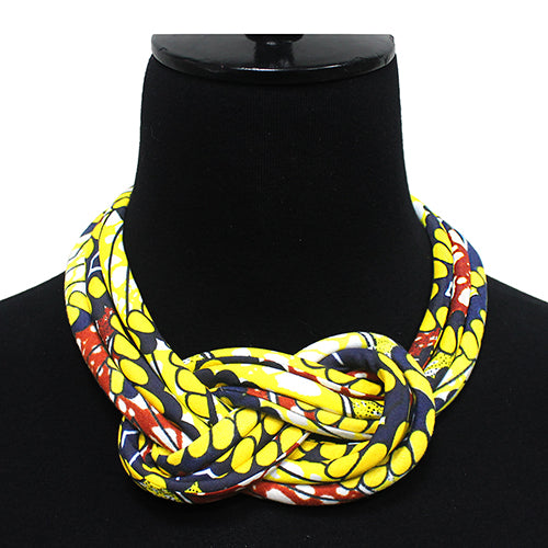 African Print Fabric With Knot Bib Short Necklace