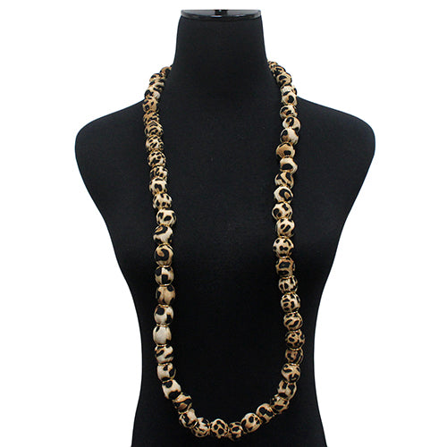 Animal Print Fabric Covered Ball Beaded Long Necklace