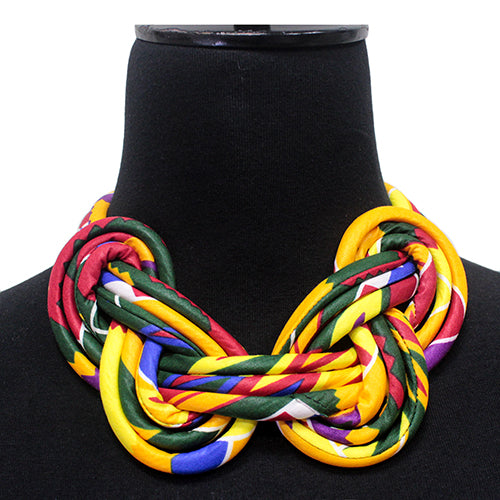 Fabric Covered Cord Braided Short Statement Necklace