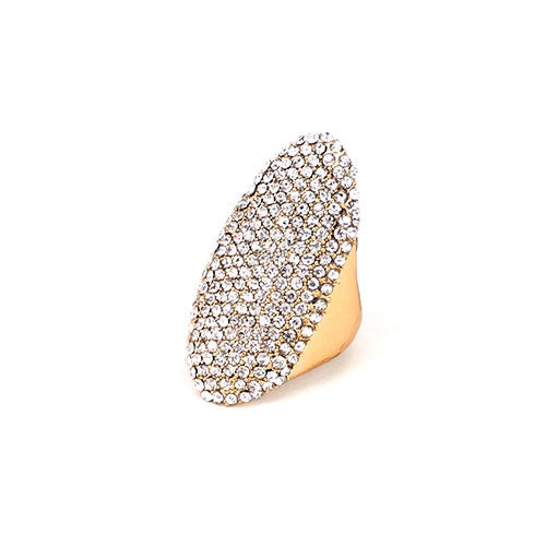 Stretch Crystal Oval Ring