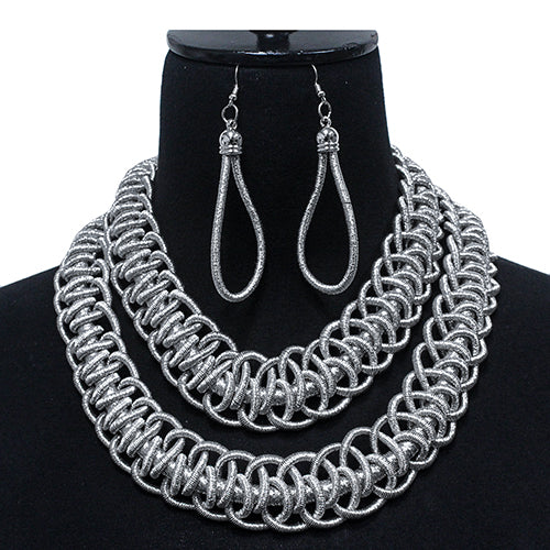 Metallic Thread Cord Braided Double Layered Short Necklace