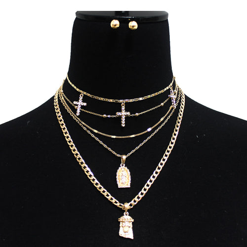 True Christian Five Layer Short Necklace