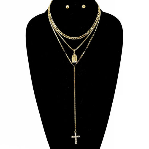 Religious 3 Layers Lariat Necklace Set