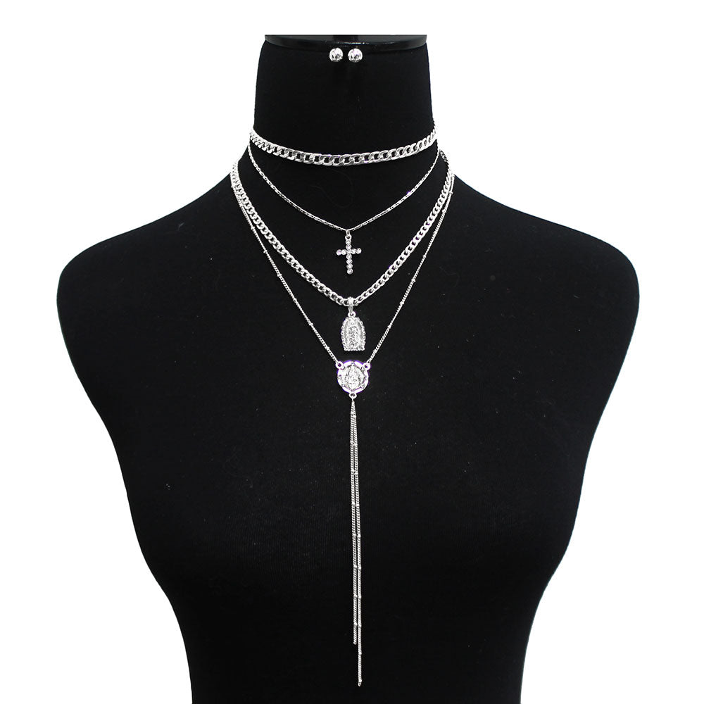 Religious Layered Lariat 4 Piece Mix Necklace Set