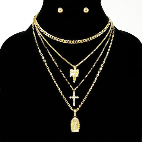 Religious 4 Layers Necklace Set