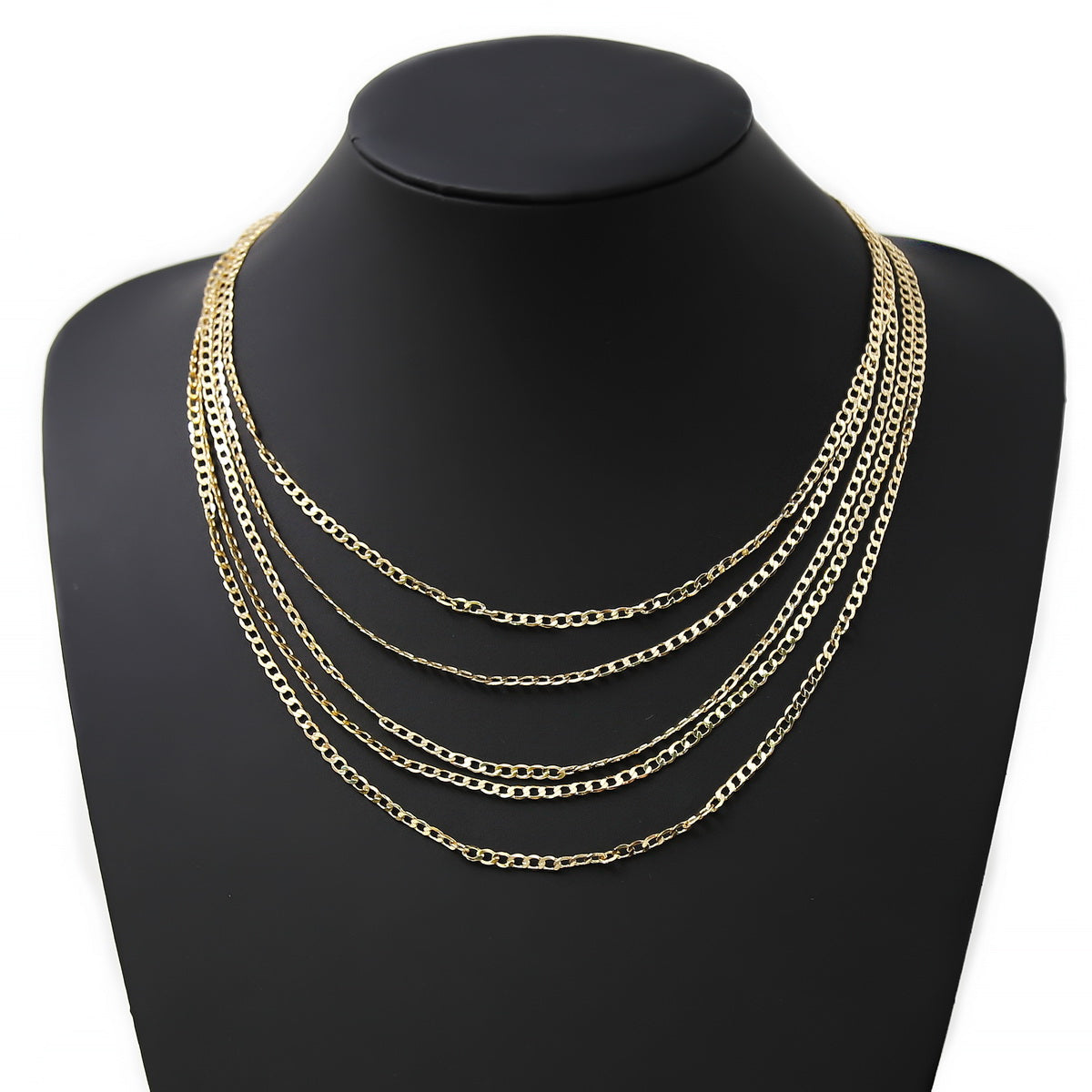 Flat Link Chain Layered Necklace Set
