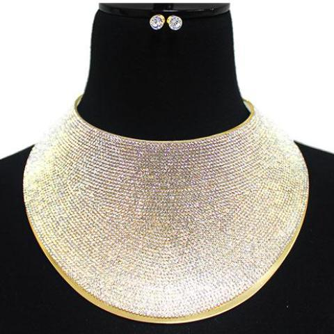 Oversized Rhinestone Brace Bib Necklace