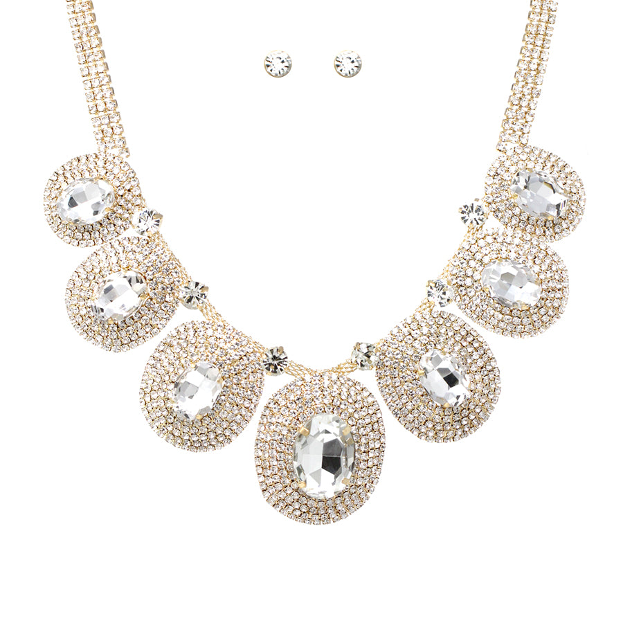 Pave Rhinestone Oval Shaped Glass Statement Short Necklace