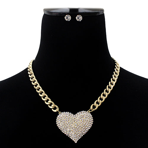 Rhinestone Pave Puffed Heart Pendant Short Necklace