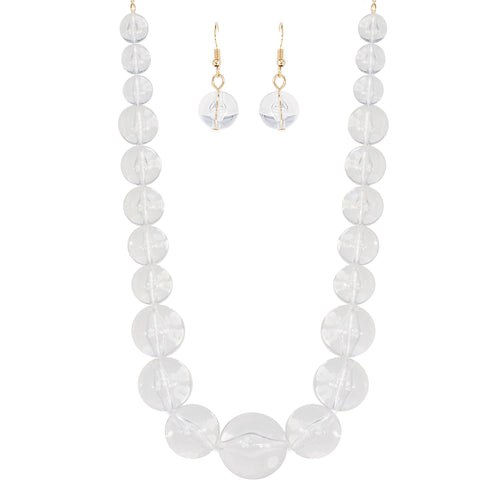 Gradual Clear Lucite Ball Necklace Set