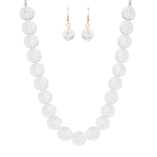 Clear Lucite Ball Necklace Set