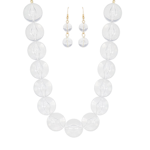 Oversized Clear Lucite Ball Necklace Set