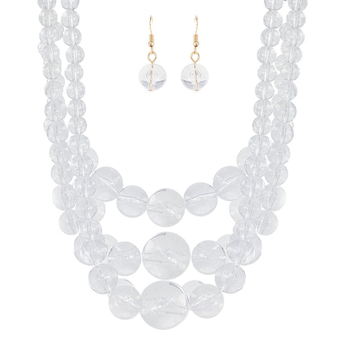 Gradual Layered Clear Lucite Ball Necklace Set