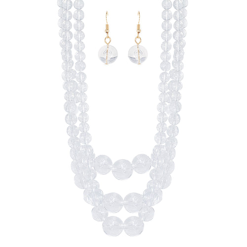 Triple Layer Clear Lucite Ball Necklace Set