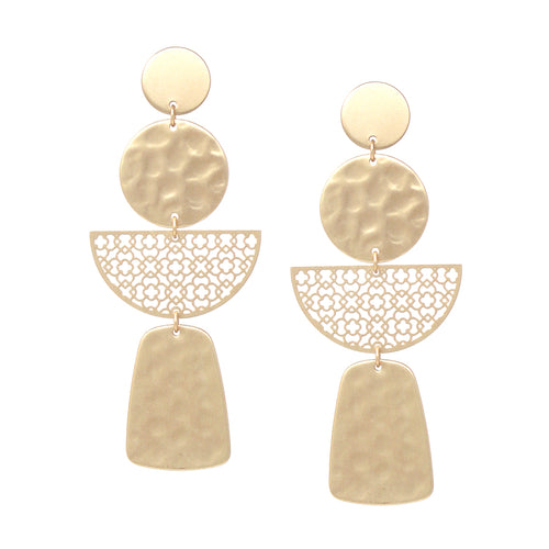 Geometric Shape Hammered Texture With Filigree Laser Cut Drop Earrings