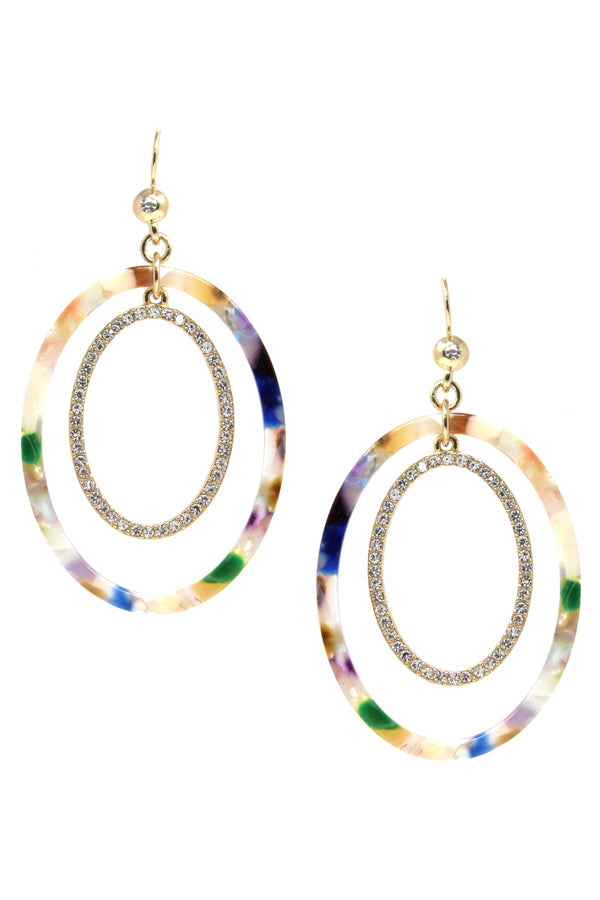 Oval Acetate And Rhinestone Pave Hoop Layered Drop Earrings