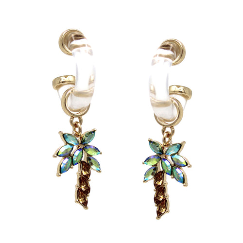 Glass Stone Pave Palm Tree Hoop Drop Earrings