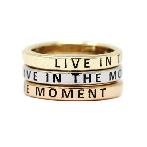 LIVE IN THE MOMENT Inspirational Tri Tone Ring Set