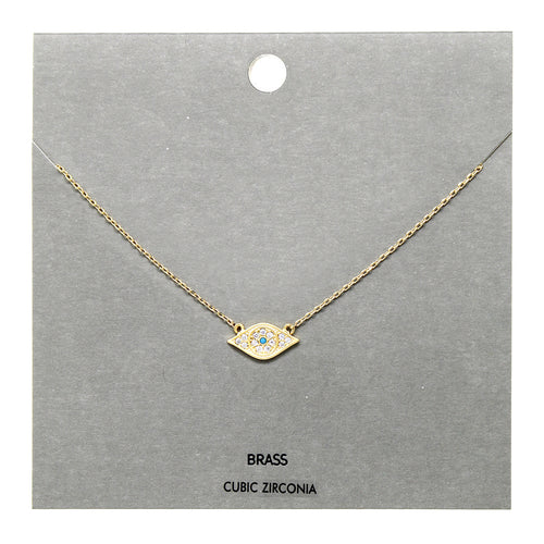 Cubic Zirconia Pave Evil Eye Pendant Short Necklace