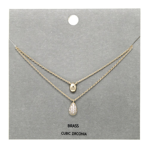 Cubic Zirconia Pave With Puffy Teardrop Pendant Double Layered Short Necklace