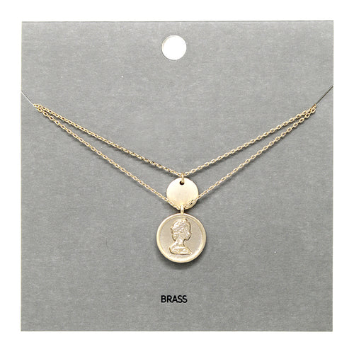 Coin Pendant Double Layered Short Necklace