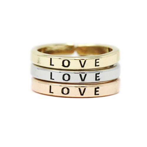 LOVE Inspirational Tri Tone Ring Set