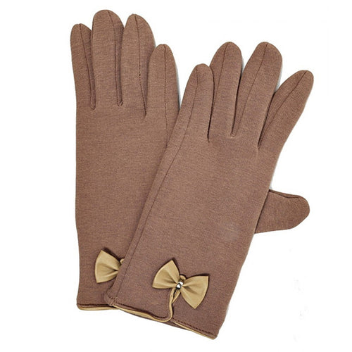 Leather Bow Fleece Lined Gloves