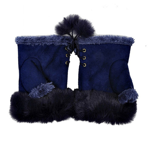 Faux Fur Trimmed Fingerless Suedette Gloves With Pom Pom