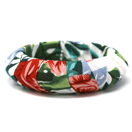 Flower Pattern Fabric Bangle Barcelet