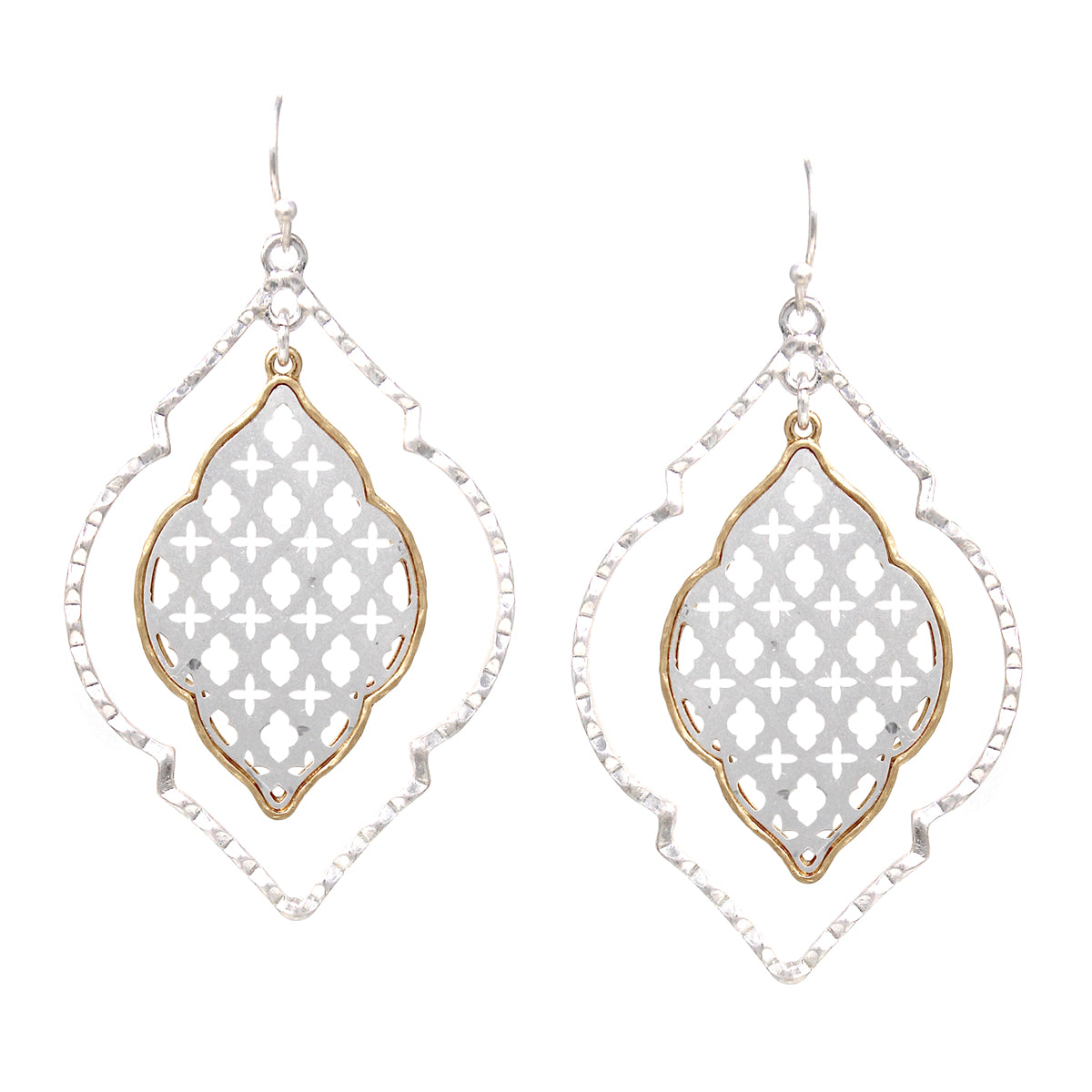 Moroccan Shape Laser Cutout Pattern Layer Drop Earrings