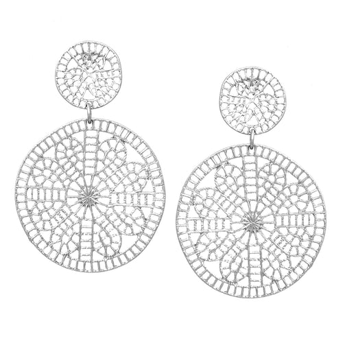 Floral Lace Cutout Metal Double Drop Earrings