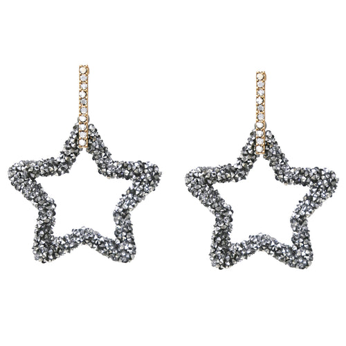 Glass Stone Covered Star Bar Drop Earrings
