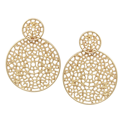 Lace Texture Cutout Double Disc Drop Earrings