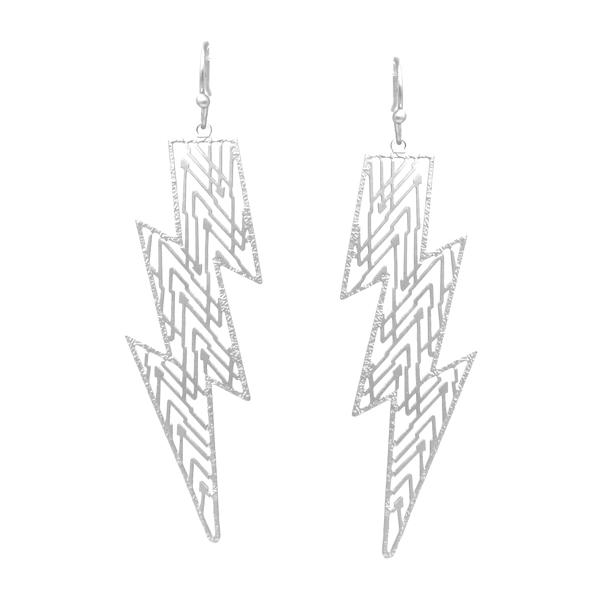 Filigree Laser Cutout Thunder Bolt Drop Earrings