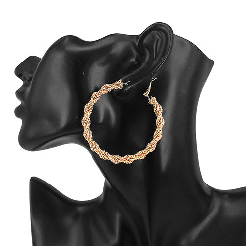 Snake Chain Twist Hoop Earrings (55 mm)