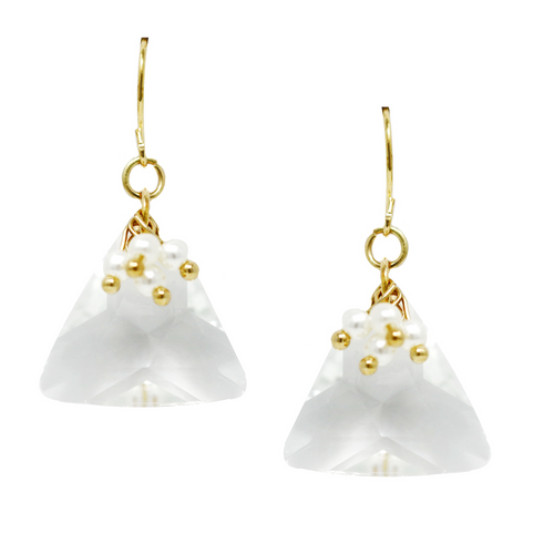 Pearl Cluster Topped Glass Triangle Drop Earrings
