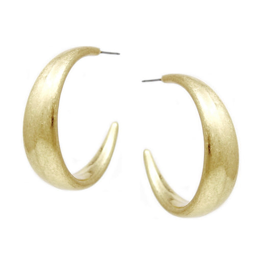 Worn Metal Wide Hoop Earrings